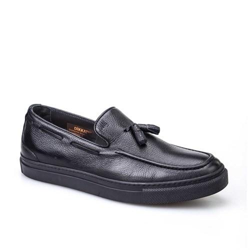 Cabani Püsküllü Sneaker Erkek Ayakkabı Siyah Kırma Deri