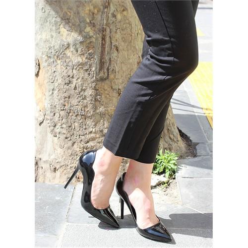 Pembe Potin Dily Siyah Rugan Ayakkabı