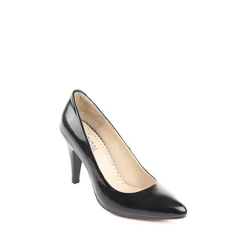 Gön Deri Kadın Ayakkabı 22354 Siyah Rugan