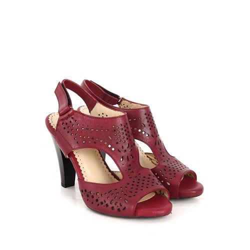 Gön Deri Kadın Sandalet 26009 Bordo Antik