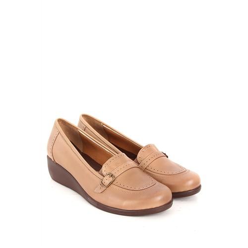 Gön Deri Kadın Ayakkabı 36903 Kum Antik