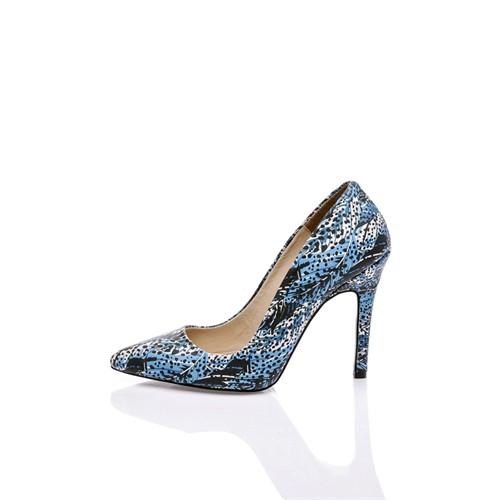 Los Ojo Blue Feather Topuklu Ayakkabı