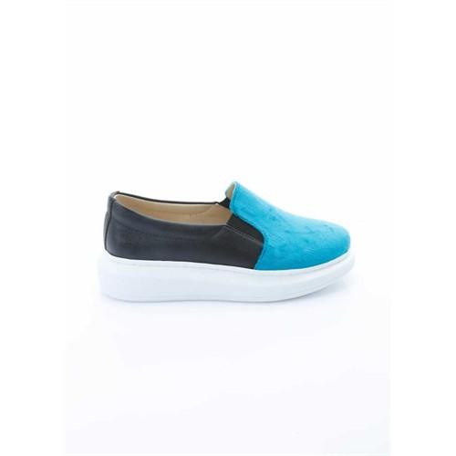 Shoes&Moda Turkuaz-Siyah Kadın Ayakkabı 509-1016-1518892