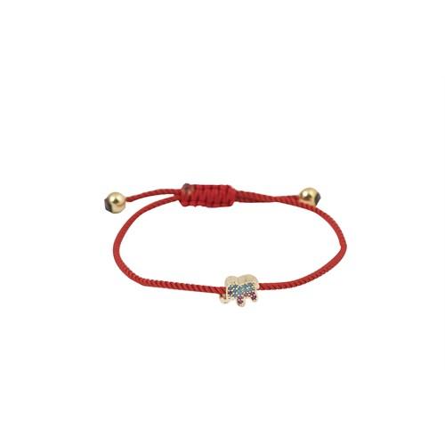 Eos Kırmızı Fil Figürlü Bileklik