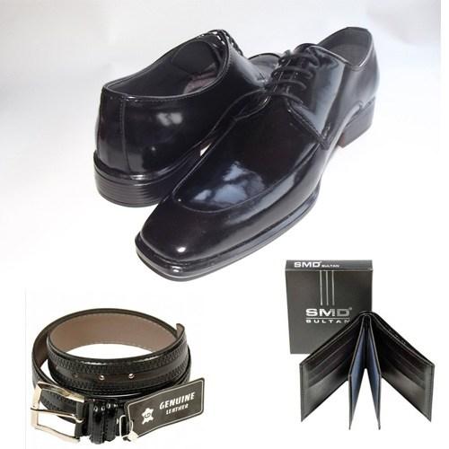 Klasik Erkek Kundura Ayakkabı + Kemer + Cüzdan