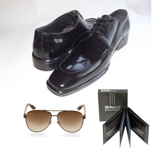 Klasik Erkek Kundura Ayakkabı + Cüzdan + Gözlük