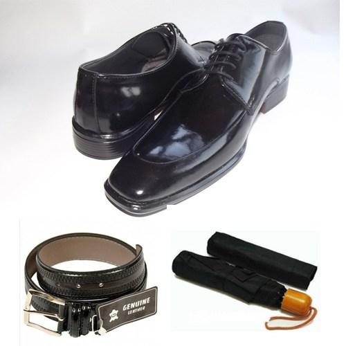 Klasik Erkek Kundura Ayakkabı + Kemer + Şemsiye