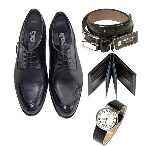 Siyah Klasik Erkek Ayakkabısı + Kemer + Cüzdan + Saat