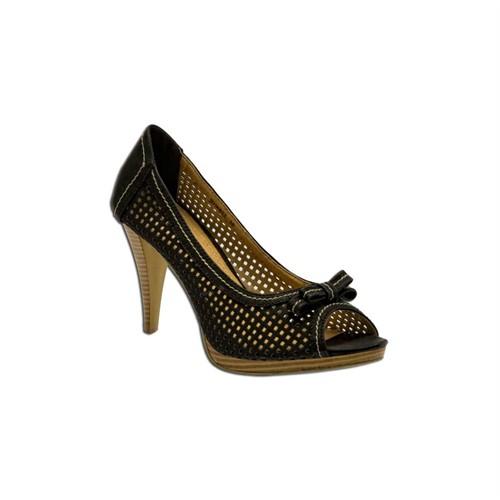 Escarpine Fileli Siyah Bayan Ayakkabı