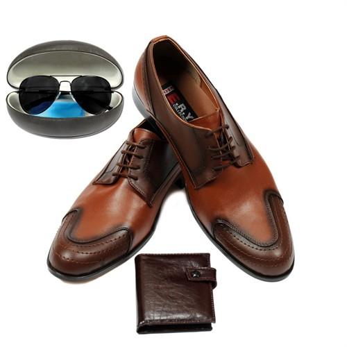 Eray Taba Renkli Erkek Ayakkabısı Güneş Gözlüğü Ve Cüzdan