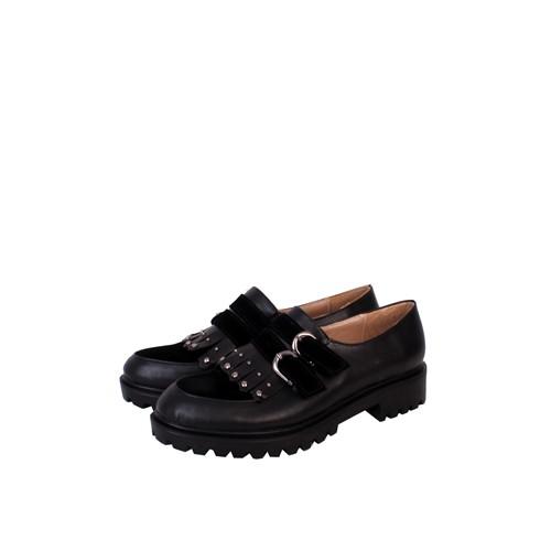 Format Shoes Siyah Çift Tokalı Zenne Ayakkabı - 2140