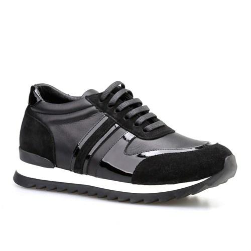 Cabani Bağcıklı Kadın Ayakkabı Siyah Süet