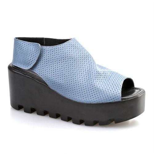 Cabani Açık Burun Kadın Ayakkabı Mavi Deri