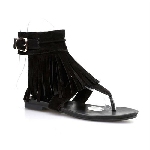 Cabani Püsküllü Kadın Sandalet Siyah Süet