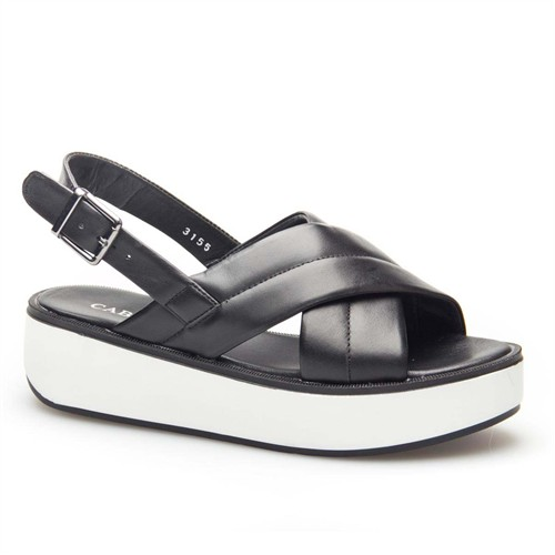 Cabani Dolgu Topuk Kadın Sandalet Siyah Deri