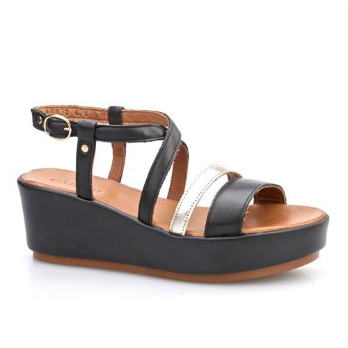 Cabani Tokalı Çapraz Bağ Kadın Sandalet Siyah Deri