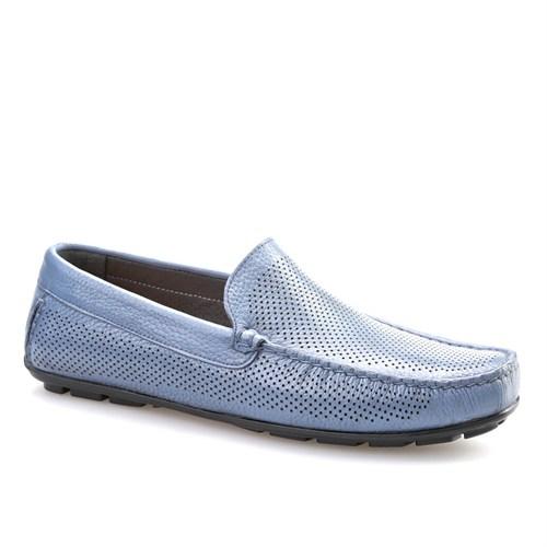 Cabani Lazerli Makosen Günlük Erkek Ayakkabı Mavi Napa Deri