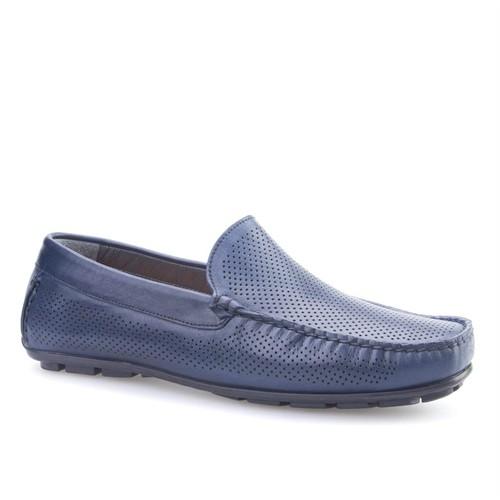 Cabani Lazerli Makosen Günlük Erkek Ayakkabı Lacivert Napa Deri