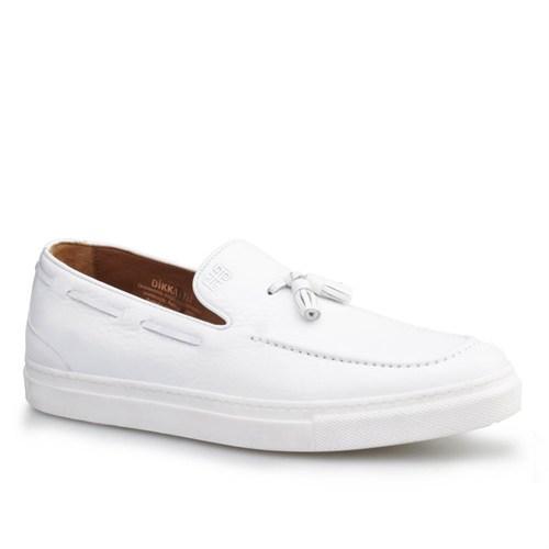 Cabani Püsküllü Sneaker Erkek Ayakkabı Beyaz Kırma Deri
