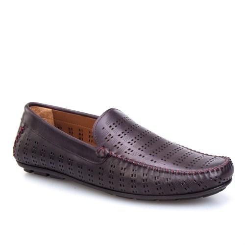 Cabani Lazerli Günlük Erkek Ayakkabı Bordo Deri