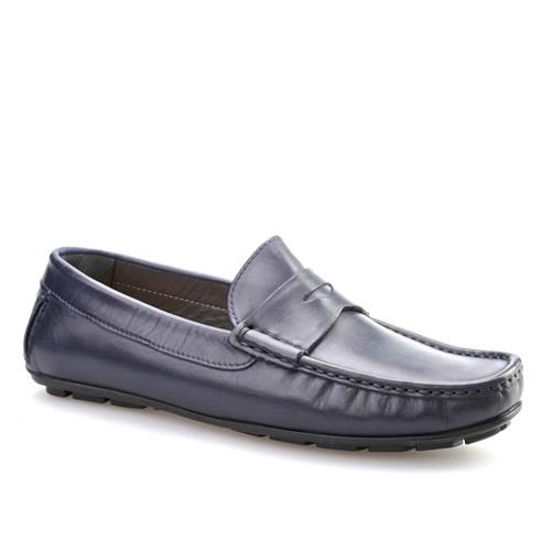 Cabani Kemerli Makosen Günlük Erkek Ayakkabı Lacivert Antik Deri