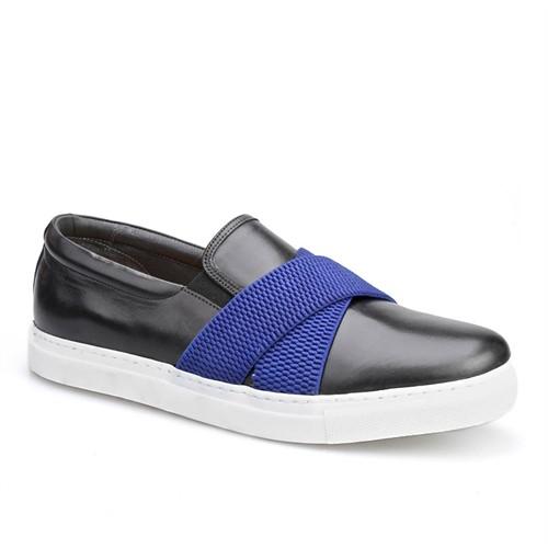 Cabani Kemerli Sneaker Erkek Ayakkabı Siyah Analin Deri
