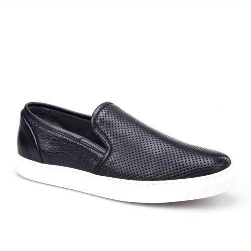 Cabani Lazerli Sneaker Erkek Ayakkabı Siyah Kırma Deri