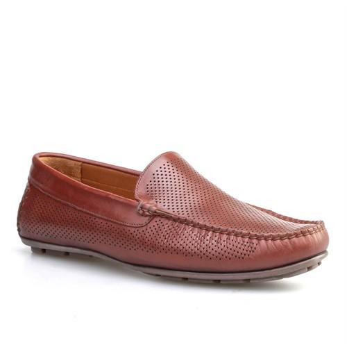 Cabani Lazerli Makosen Günlük Erkek Ayakkabı Taba Flap Deri