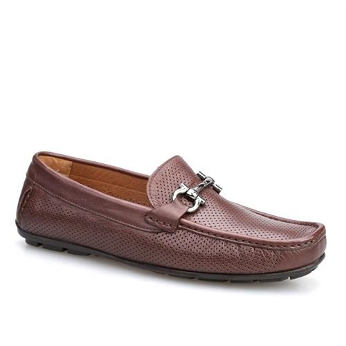 Cabani Lazerli Makosen Günlük Erkek Ayakkabı Kahverengi Napa