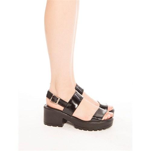 Mecrea Exclusive Robyn Siyah Mat Rugan Kalın Topuk Sandalet