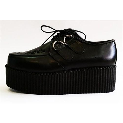 Köstebek Siyah Yüksek Tabanlı Deri Creepers Ayakkabı Kca040