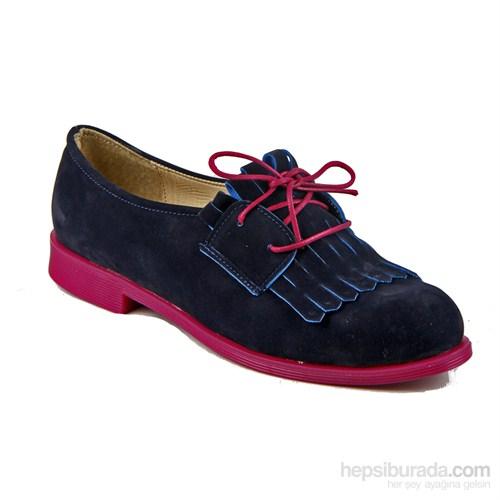 İnce Topuk Kadın Günlük Ayakkabı Lacivert Süet