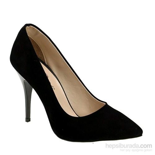 Derigo Kadın Topuklu Ayakkabı Siyah Süet