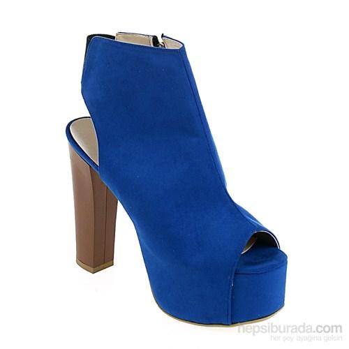 Derigo Kadın Topuklu Ayakkabı Saks Süet