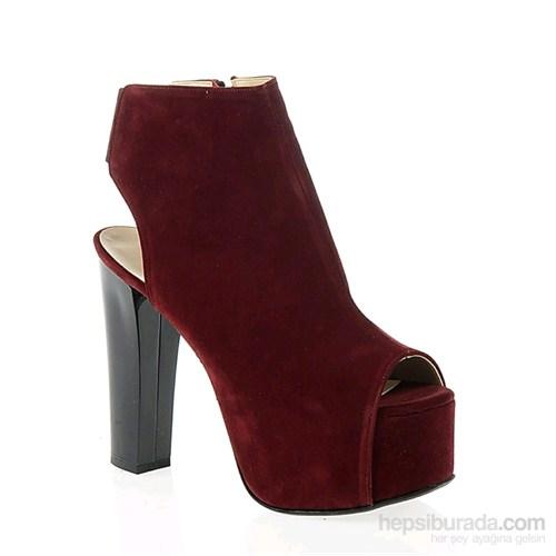 Derigo Kadın Topuklu Ayakkabı Bordo Süet