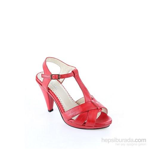 Gön 25789 Kırmızı Antik Deri Kadın Sandalet