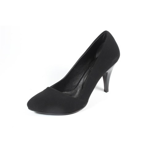 Ella 255-113 Siyah Nubuk Kadın Topuklu Ayakkabı