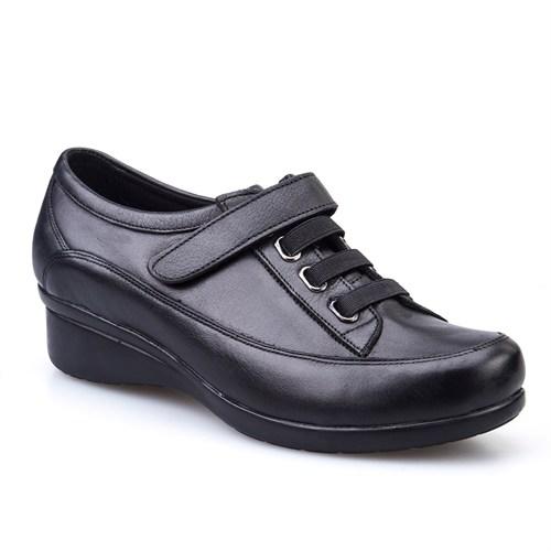 Cabani Cırtlı Comfort Kadın Ayakkabı Siyah Deri