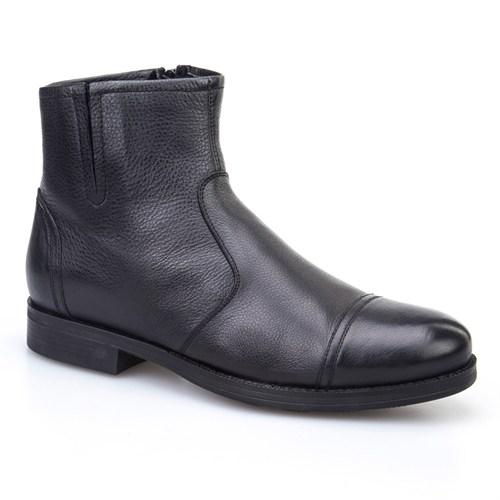 Cabani Kürklü Günlük Erkek Ayakkabı Siyah Kırma Deri