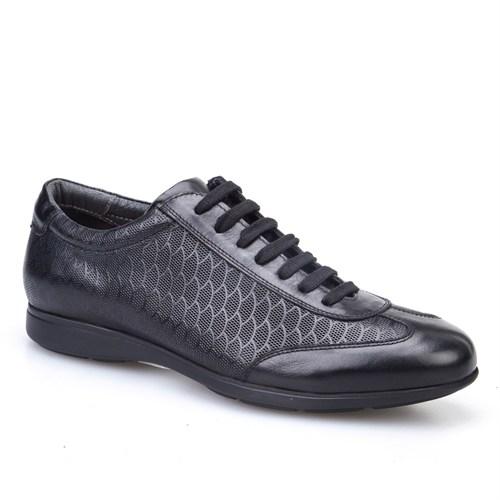 Cabani Petek Baskı Günlük Erkek Ayakkabı Siyah Analin Deri