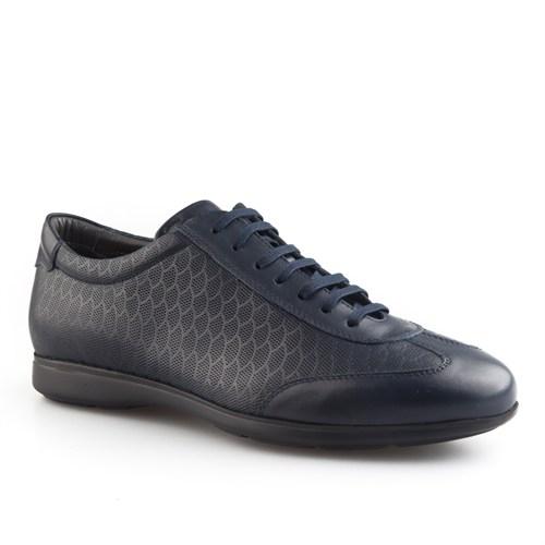 Cabani Petek Baskı Günlük Erkek Ayakkabı Lacivert Napa Deri