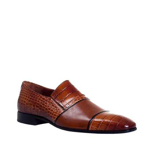 Cabani Bağcıksız Klasik Erkek Ayakkabı Taba Croco Deri