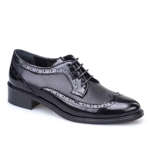 Cabani Oxford Günlük Kadın Ayakkabı Siyah Açma Deri