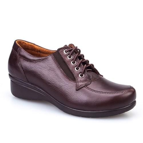 Cabani Bağcıklı Günlük Kadın Ayakkabı Kahve Deri