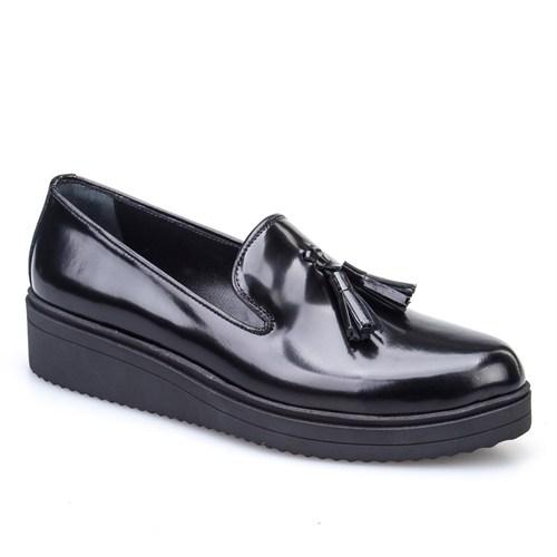 Cabani Püsküllü Günlük Kadın Ayakkabı Siyah Açma Deri