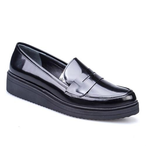 Cabani Kemerli Günlük Kadın Ayakkabı Siyah Açma Deri