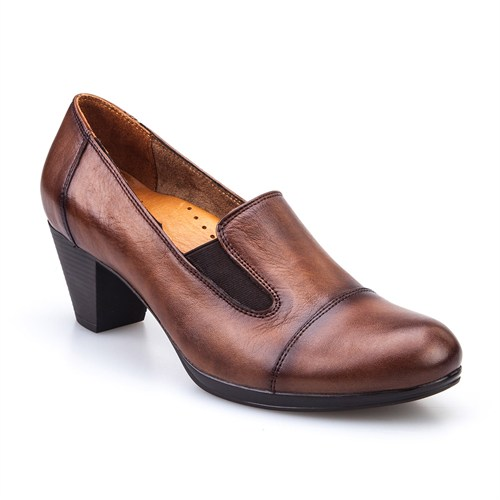 Cabani Lastikli Günlük Kadın Ayakkabı Taba Deri