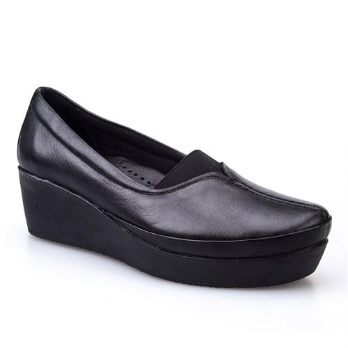 Cabani Lastikli Comfort Kadın Ayakkabı Siyah Deri