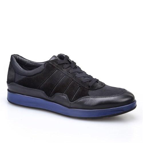 Cabani Bağcıklı Spor Günlük Erkek Ayakkabı Siyah Kırma Deri