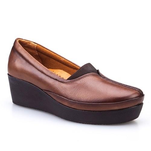 Cabani Lastikli Comfort Kadın Ayakkabı Taba Deri
